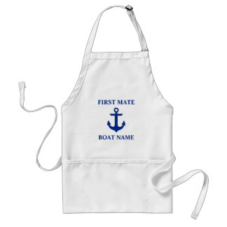 Nautical First Mate Boat Name Anchor Standard Apron