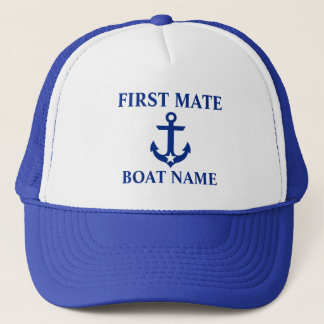 Nautical First Mate Boat Name Anchor Star Blue Trucker Hat