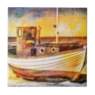 Nautical Fishing Boat on Beach at Sunset Ocean Art Ceramic Tile