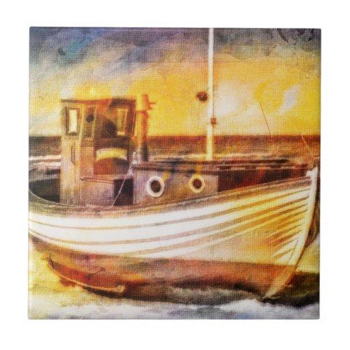 Nautical Fishing Boat on Beach at Sunset Ocean Art Ceramic Tiles