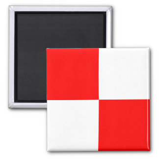 Nautical Flag Alphabet Sign Letter U (Uniform) Square Magnet