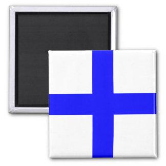 Nautical Flag Alphabet Sign Letter X (Xray) Square Magnet