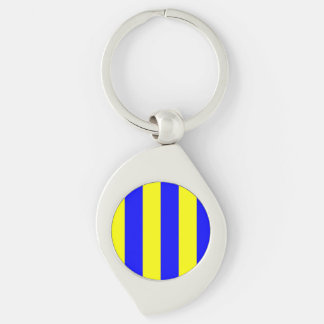 Nautical Flag Letter G (Golf) Silver-Colored Swirl Key Ring