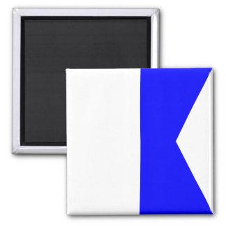 Nautical Flag Signal Letter A (Alfa) Square Magnet