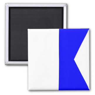 Nautical Flag Signal Letter A (Alfa) Square Magnet