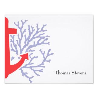 "Nautical Flat Note Card 4.25"" X 5.5"" Invitation Card"