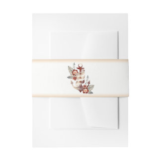 Nautical Floral Anchor Beach Wedding Invitation Belly Band