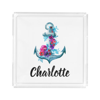 Nautical Floral Blue Anchor Illustration Acrylic Tray