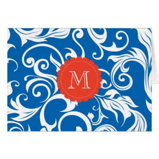 Nautical Floral Monogram Note Card Blue Red