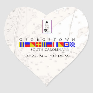 Nautical Georgetown South Carolina Heart Stickers