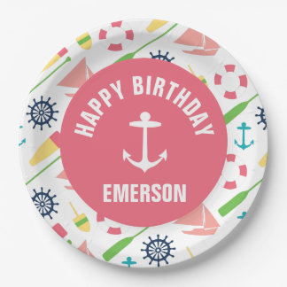 Nautical Girl Personalized Happy Birthday Plate