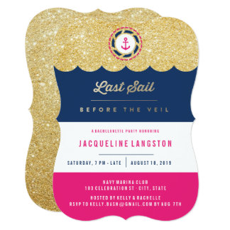 Nautical Glam Chic Shine Bachelorette Party Invite