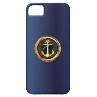 Nautical Gold Anchor Navy Blue iPhone 5 Case