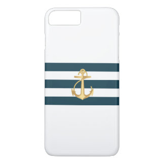 Nautical Gold Anchor Navy Blue Stripes iPhone 7 Plus Case
