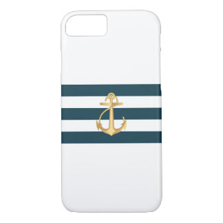 Nautical Gold Anchor Navy Stripes iPhone 7 case