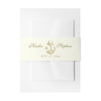 Nautical Gold and Ivory Wedding Invitation Belly Band