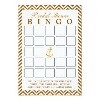 Nautical Gold Glitter Zigzag Bridal Bingo Cards