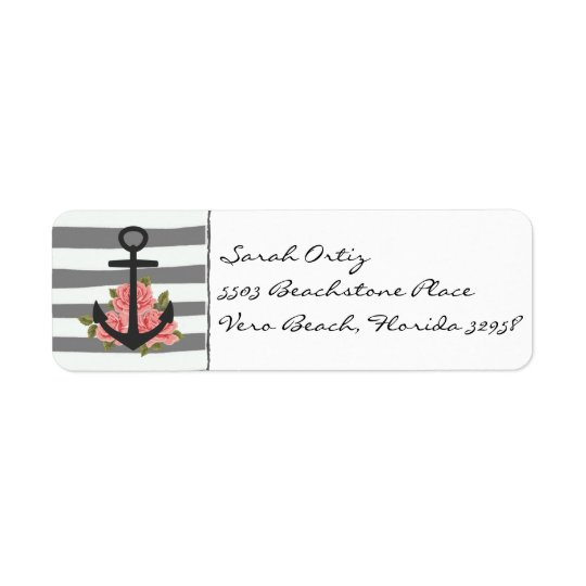 Nautical Grey Rose Anchor Labels