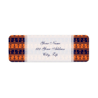 Nautical Halloween anchor pattern Return Address Label