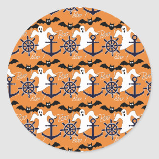 Nautical Halloween pattern Classic Round Sticker