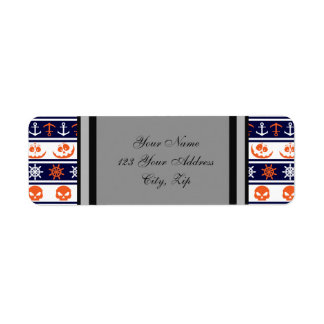 Nautical Halloween pattern custom background color Return Address Label