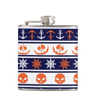 Nautical Halloween pattern Hip Flask