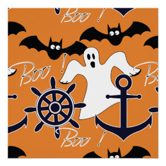 Nautical Halloween pattern Poster