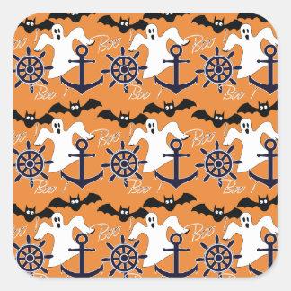 Nautical Halloween pattern Square Sticker