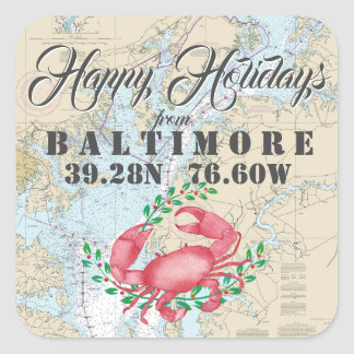 Nautical Happy Holidays from Baltimore Square Sticker