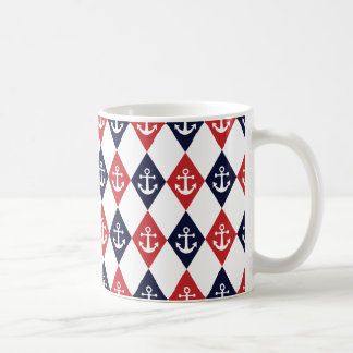 Nautical harlequin pattern coffee mug