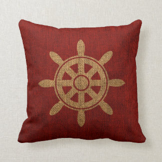 Nautical Helm Wheel Red Throw Pillow