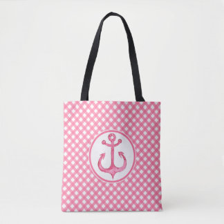 Nautical Hot Pink Anchor Plaid Tote