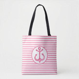 Nautical Hot Pink Anchor Striped Tote