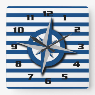 Nautical Inspired Compass and Stripes Pattern Clock