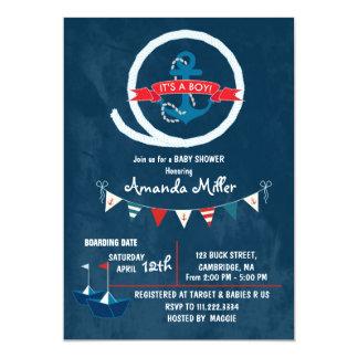 Nautical It's a Boy Baby Shower 13 Cm X 18 Cm Invitation Card