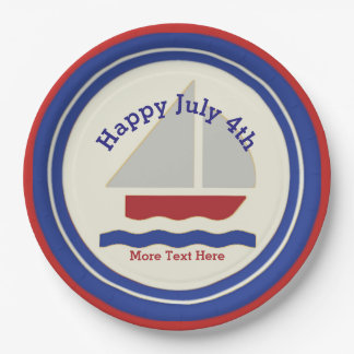Nautical July 4th Paper Plates 9 Inch Paper Plate