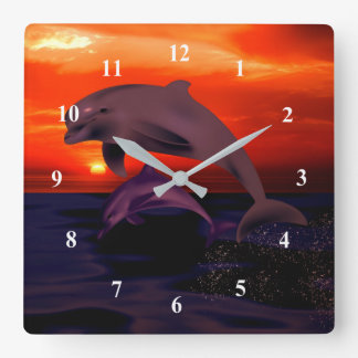 Nautical Jumping Dolphins Orange Ocean Sunset Square Wall Clock