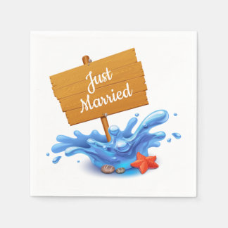 Nautical Just Married Beach Sign Waves Wedding Paper Napkin