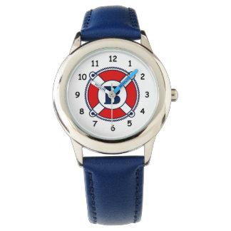 Nautical kid's watch with rescue buoy monogram