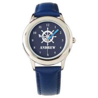 Nautical kid's watch with ship wheel logo and name