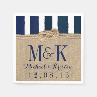 Nautical Knot Burlap Navy Stripes Wedding Napkins Disposable Napkins