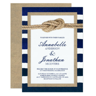 Nautical Knot Burlap & Watercolor Navy Stripes Card