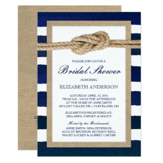 Nautical Knot Navy Stripes Rustic Bridal Shower 13 Cm X 18 Cm Invitation Card