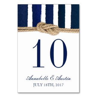Nautical Knot Navy Stripes Wedding Table Card