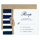 Nautical Knot & Watercolor Navy Stripes RSVP Card