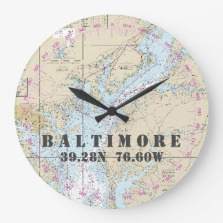 Nautical Latitude Longitude Baltimore MD  24-Hour Wallclocks