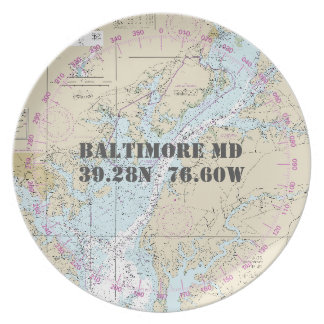 Nautical Latitude Longitude Baltimore MD Boat Plate