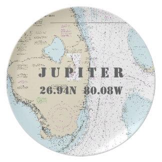 Nautical Latitude Longitude Jupiter, FL Boat Party Plates