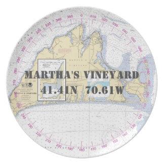 Nautical Latitude Longitude Martha's Vineyard Plate