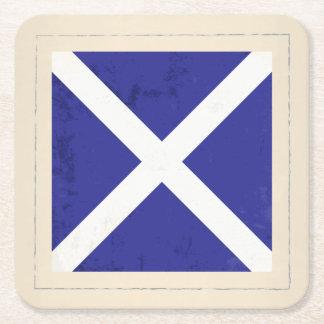 "Nautical Letter ""M"" Signal Flag Square Paper Coaster"